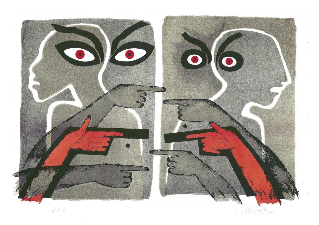 mākslas darbs ar pelēku un sarkanu krāsu, kurā redzamas acis un rokas