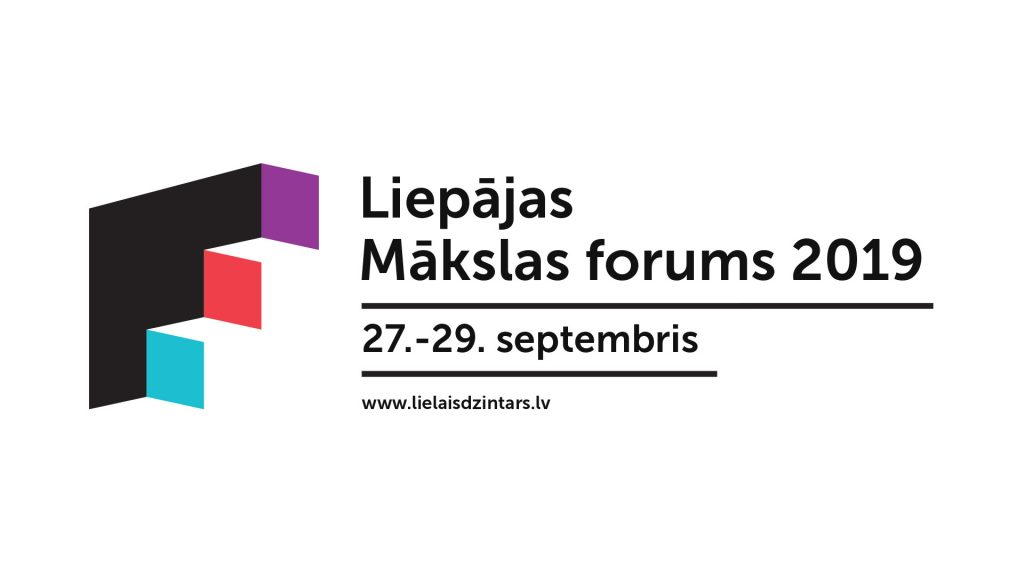 Pasākuma makets ar melnu tekstu uz balta fona - Liepājasm Mākslas foruma pieteikums