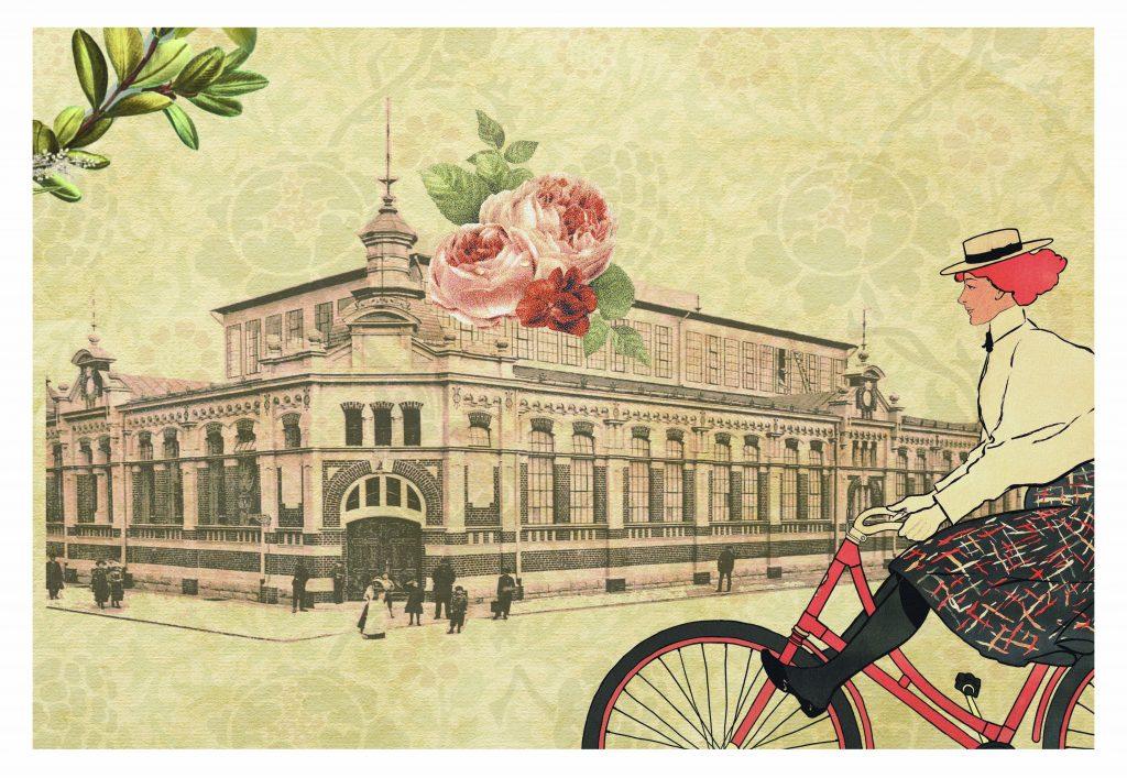Vizualizācija ar ēkām, ziediem un sievieti uz velosipēda