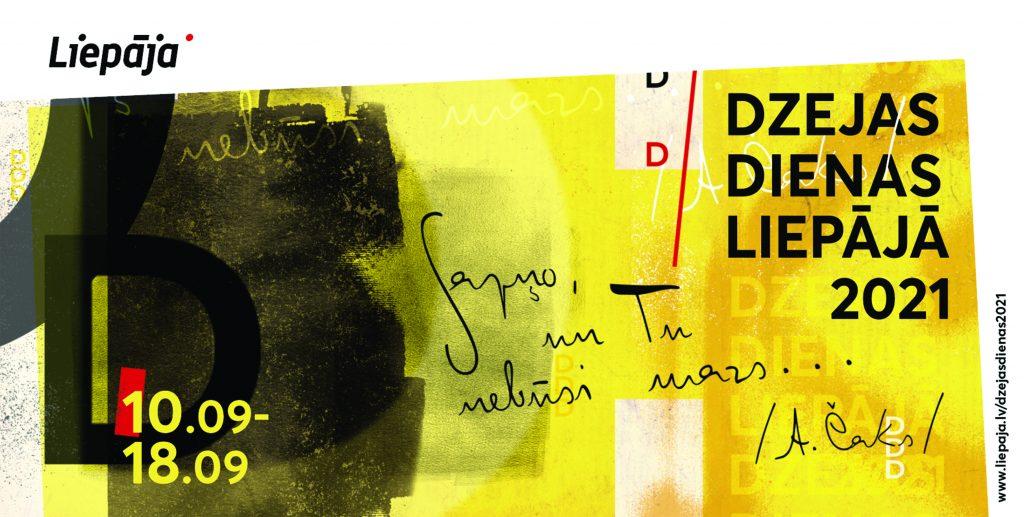 dzeltens ar melnu makets ar tekstiem pa virsu