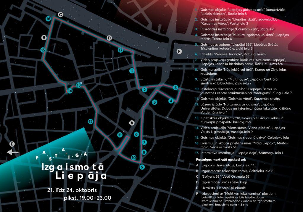 Tumšs attēls ar izveidotu maršrutu pa Liepāju un aprakstiem