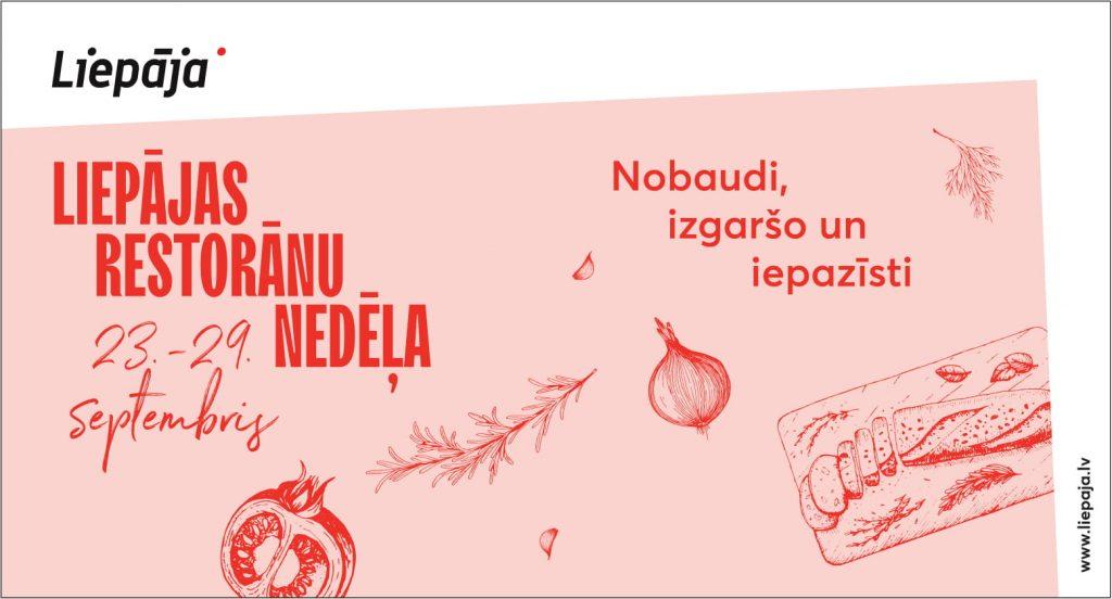 Gaiši rozā makets ar zīmētiem elementiem un uzrakstu Liepājas Restorānu nedēļa